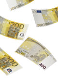Two hundred euro bill collage isolated on white. Vertical format Royalty Free Stock Images