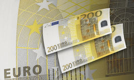 Two hundred euro bill collage in warm tone. Two hundred euro bill in warm tone. Horizontal format Vector Illustration