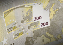 Two hundred euro bill collage in warm tone. Horizontal format Stock Photo