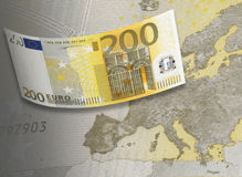 Two hundred euro bill collage in warm tone. Two hundred euro bill in warm tone. Horizontal format Stock Images