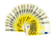 Two hundred euro bills isolated on white background. banknotes c. Ash Stock Photography