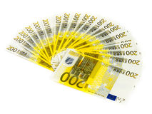 Two hundred euro bills isolated on white background. banknotes c. Ash finance concept Royalty Free Stock Photography