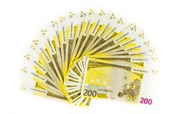 Two hundred euro bills isolated on white background. banknotes c. Ash concept Stock Images