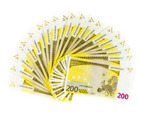 Two hundred euro bills isolated on white background. banknotes. Cash Royalty Free Stock Photos