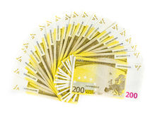 Two hundred euro bills isolated on white background. Banknotes cash money 200 Royalty Free Stock Image
