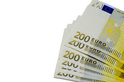 Two hundred  euro money. Two hundred euro banknote with a  isolated on a white background Stock Photography