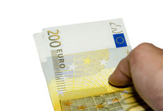 Two hundred  euro money. Two hundred euro banknote with a  isolated on a white background Royalty Free Stock Photography