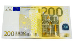 Two hundred  euro money. Two hundred euro banknote with a  isolated on a white background Stock Photo