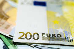 Two hundred  euro money. Euro banknote with a  isolated on a white background Stock Photo