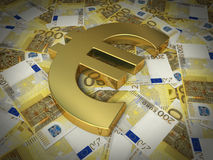 Two hundred euro sign and banknotes. 3d render golden euro symbol on two hundred euro banknotes (close-up Royalty Free Stock Photos