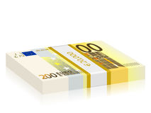 Two hundred euro stack. Two hundred euro banknotes stack on a white background Royalty Free Stock Images