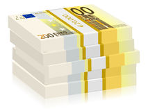 Two hundred euro stacks. Hundreds euro banknotes stacks on a white background Stock Image