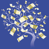 Two hundred euro tree. On blue background Royalty Free Stock Images