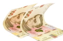 Two hundred hryvnia bills on a white background stock photo