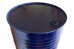 Two hundred liter oil barrels blue color Royalty Free Stock Photos