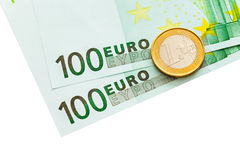 Two hundred and one euro. Photo of two hundred and one euro isolated on white background Stock Images