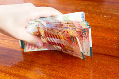 Two hundred shekel bank notes . Royalty Free Stock Photography