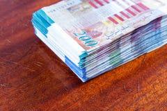 Two hundred shekel bank notes . Royalty Free Stock Photo