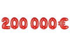 Two hundred thousand euros, red color. Red alphabet balloons, two hundred thousand euros, red number and letter balloon Stock Photo