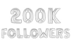 Two hundred thousand followers, chrome grey color Stock Photo