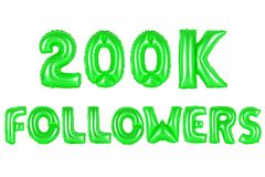 Two hundred thousand followers, green color Royalty Free Stock Photo