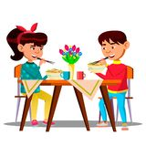 Two Hungry Little Asian Kids At The Table Eating Spaghetti, Pasta Vector. Isolated Illustration stock illustration