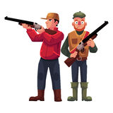 Two hunters, one in vest holding rifle, another aiming. With a gun, cartoon vector illustration isolated on white background. Full length portrait of two Royalty Free Stock Images