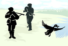 Two hunters shooting at duck. Vector illustration Stock Photos
