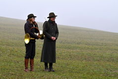 Two hunting horns' musicians before playing Stock Photography