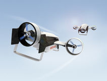 Two hybrid drones flying in the sky stock images