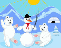 Two ice bears building a snowman. Little cute ice bear. Ice bear illustration. royalty free stock photography