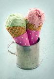 Two ice cream cones Stock Photos