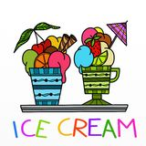Two ice cream cups Royalty Free Stock Photography