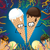 Two ice cream. Two ice cream on a festive background Stock Photography