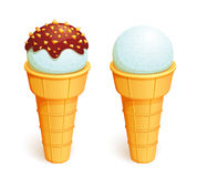 Two ice-creams in wafer cones. Ice-cream in wafer cones. Vector EPS10 Royalty Free Stock Photography