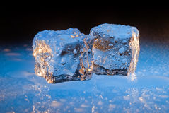 Two ice cubes on blue. Two ice cubes dripping with water bottom lit by a blue light stock images