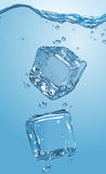 Two ice cubes dropped into water. EPS10 Royalty Free Stock Photos