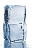 Two ice cubes with water drops Royalty Free Stock Photos