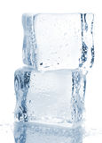 Two ice cubes with water drops Stock Photo