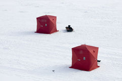Two Ice Fishing Tents on Frozen Lake Royalty Free Stock Photo