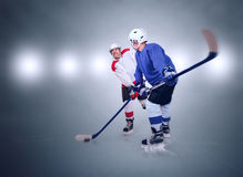 Two ice hockey players during match Stock Images