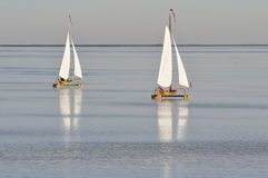Two ice sailing boats on frozen lake. In The Netherlands Royalty Free Stock Photos
