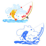 Two icons with fishing, color and monochrome Royalty Free Stock Photo