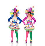Two Identical Female Clown Stock Images