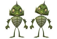 Two identical green amphibian monsters front view side by side royalty free stock image