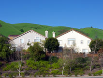 Two identical houses and green hills. Two identical cookie cut symmetrical houses with beautiful green hills in the background. Blue sky, trees and shrubs in Stock Images