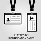 Two identification card with a photo pass in the flat style Royalty Free Stock Image