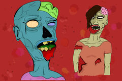 Two illustrated zombies in cartoon style with visible brains, em Royalty Free Stock Photos