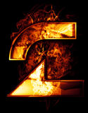 Two, illustration of  number with chrome effects and red fire on. Black Royalty Free Stock Photography