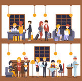 Two Illustrations, Scenes In The Hotel At Reception And Restaurant Royalty Free Stock Photos